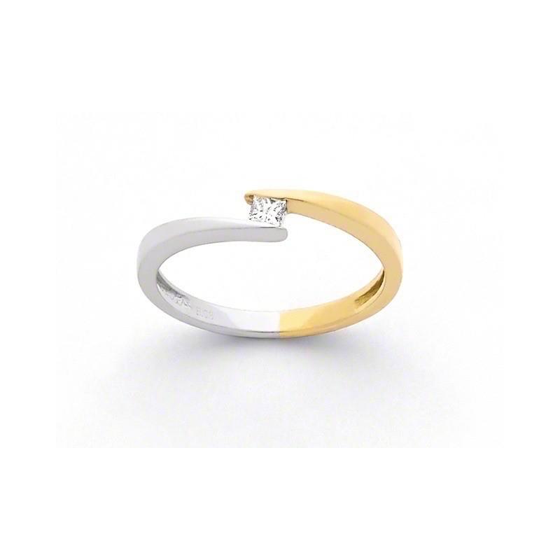 "Solitaire Diamant 0,08 Carat G SI ""Twin"" Or jaune et Or blanc"