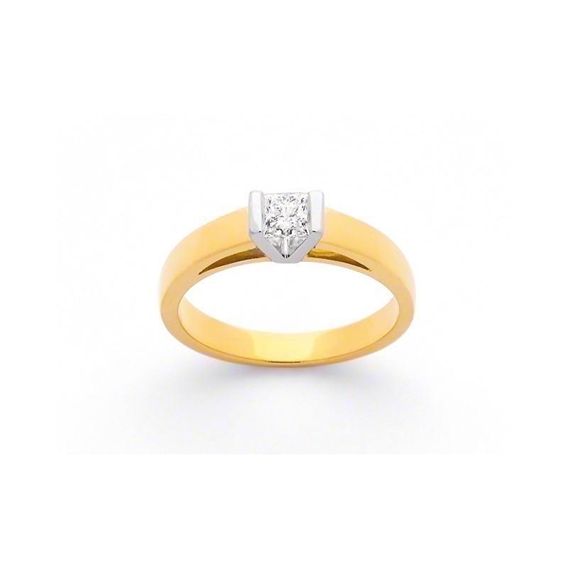 Solitaire diamants taille princesse 0,30 G VS