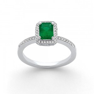 Bague Emeraude 0,70 Carat entourage Diamants 0,24 Carat G SI Or blanc