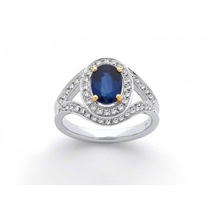 Bague Saphir 1,83 Carats entourage Diamants 0,51 Carat G SI Or blanc