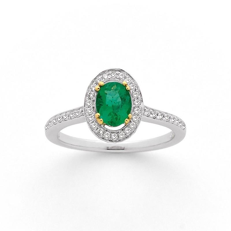 Bague Emeraude 0,53 Carat entourage Diamants 0,27 Carat G SI Or blanc