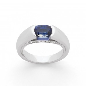 Bague Saphir 2,06 Carats et Diamants 0,25 Carat G VS Or blanc