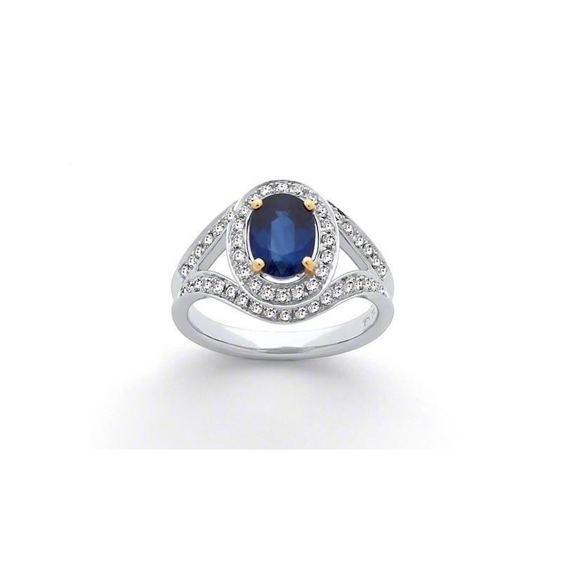 Bague Saphir 1,64 Carats entourage Diamants 0,50 Carat G SI Or blanc