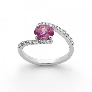 Bague Saphir rose 0,99 Carat et Diamants 0,27 Carat G SI Or blanc