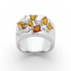 Bague Saphirs multicolors 1,70 Carats et Diamants 0,66 Carat G VS Or blanc