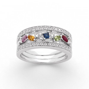 Bague Saphirs multicolors 0,35 Carat et Diamants 0,43 Carat G VS Or Blanc