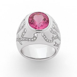 Bague Spinelle rose 5,82 Carats et Diamants 1,32 Carats G VS Or blanc