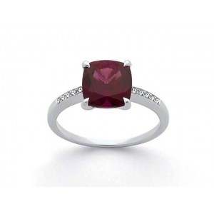 Bague Grenat Rhodolite 2,69 Carats et Diamants 0,05 Carat H SI Or blanc