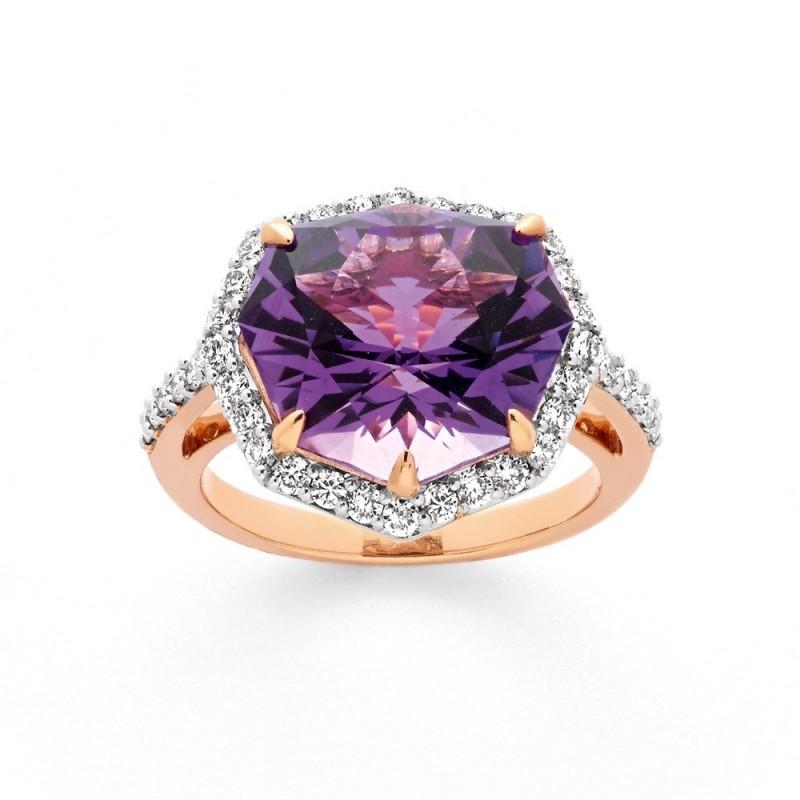 Bague Améthyste 7,10 Carats et Diamants 0,65 Carat H SI Or rose