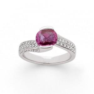 Bague Saphir rose 1,43 Carats et Diamants 0,37 Carat G SI Or blanc