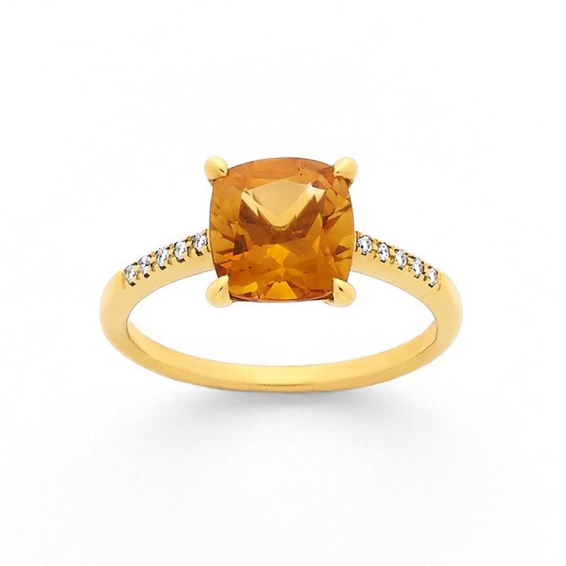 Bague Citrine 1,98 Carats et Diamants 0,05 Carat G SI Or jaune