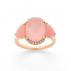 Bague Quartz rose, Opale rose 6,96 Carats et Diamants 0,07 Carat H SI Or rose