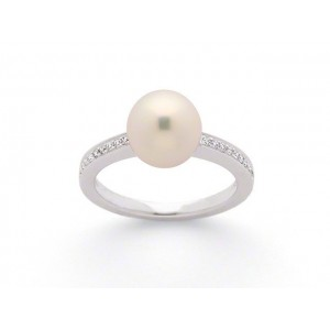 Bague Perle Akoya Japon 8,7mm et Diamants 0,10 Carat H SI Or blanc