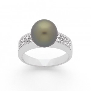 Bague Perle de Tahiti 9,7mm et Diamants 0,17 Carat H SI Or blanc