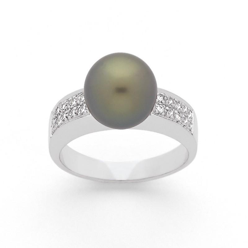Bague Perle de Tahiti 9,7mm et Diamants 0,17 Carat H SI Or blanc