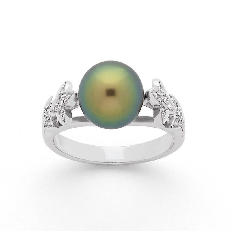 Bague Perle de Tahiti 9 mm et Diamants 0,14 Carat H SI Or blanc