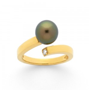 Bague Perle de Tahiti 8,4mm et Diamants 0,05 Carat H SI Or jaune