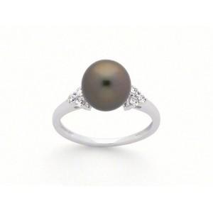 Bague Perle de Tahiti 9 mm et Diamants 0,14 Carat H SI Or blanc-1