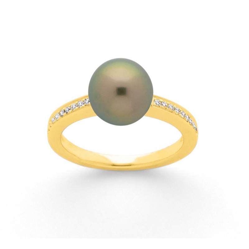 Bague Perle de Tahiti 9 mm et Diamants 0,10 Carat H SI Or jaune