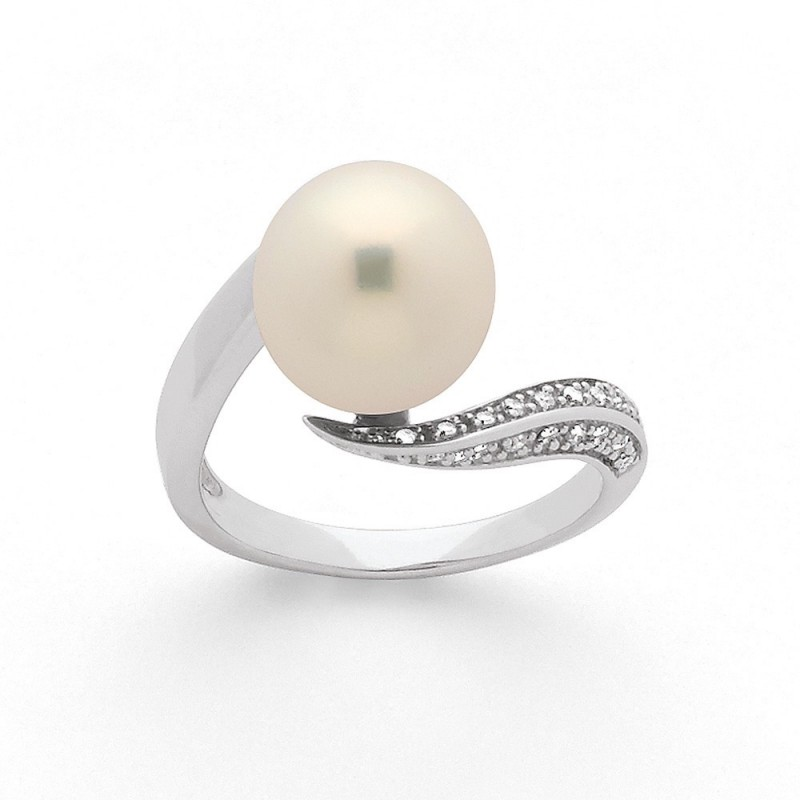 Bague Perle Akoya Japon 8,5-9mm et Diamants 0,10 Carat G SI Or blanc