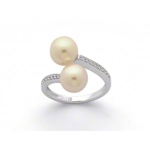 Bague duo Perles Akoya Japon 8 mm et Diamants 0,11 Carat H SI Or blanc