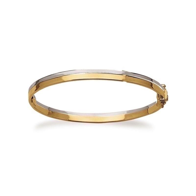 Bracelet rigide Omega 2 rangs 6mm Or blanc et Or jaune