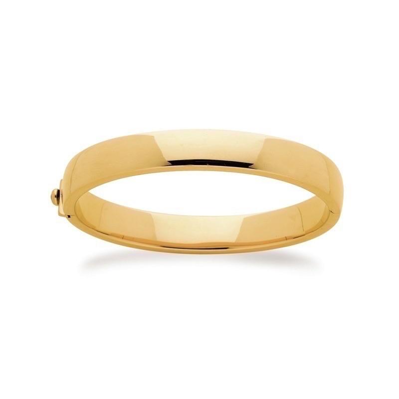 Bracelet rigide ouvrant uni 1/2 bombé 10,3mm Or jaune