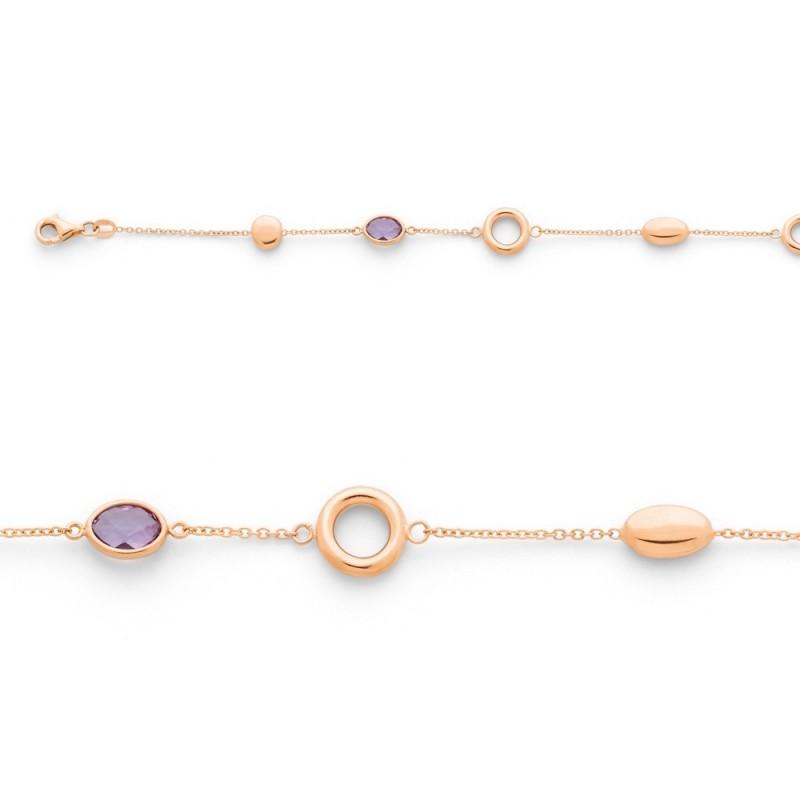 Bracelet Améthystes et motifs Mailles Forçat Or rose