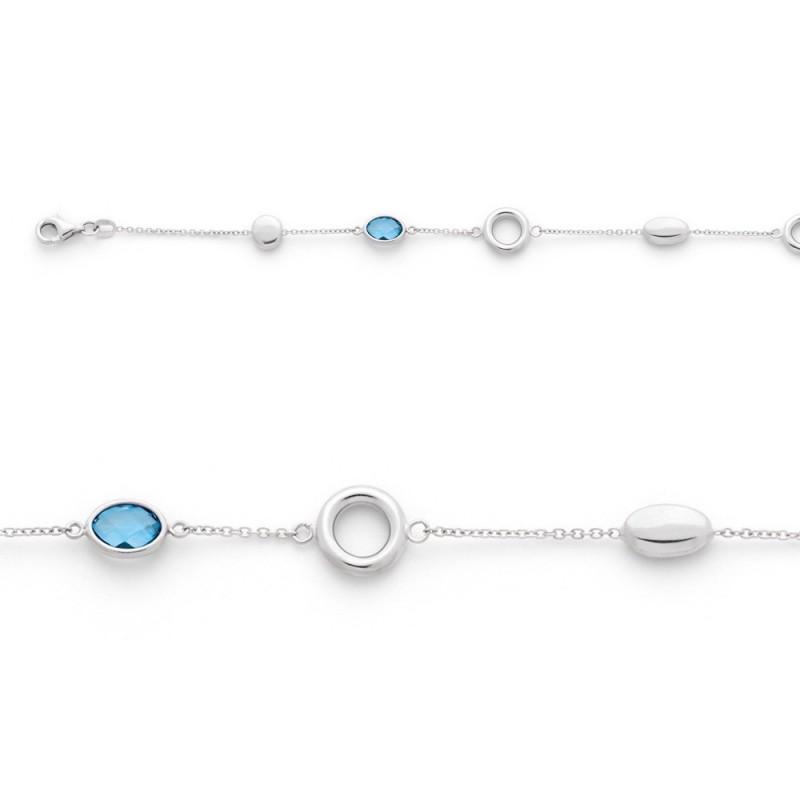 Bracelet Topazes bleues et motifs Mailles Forçat Or blanc