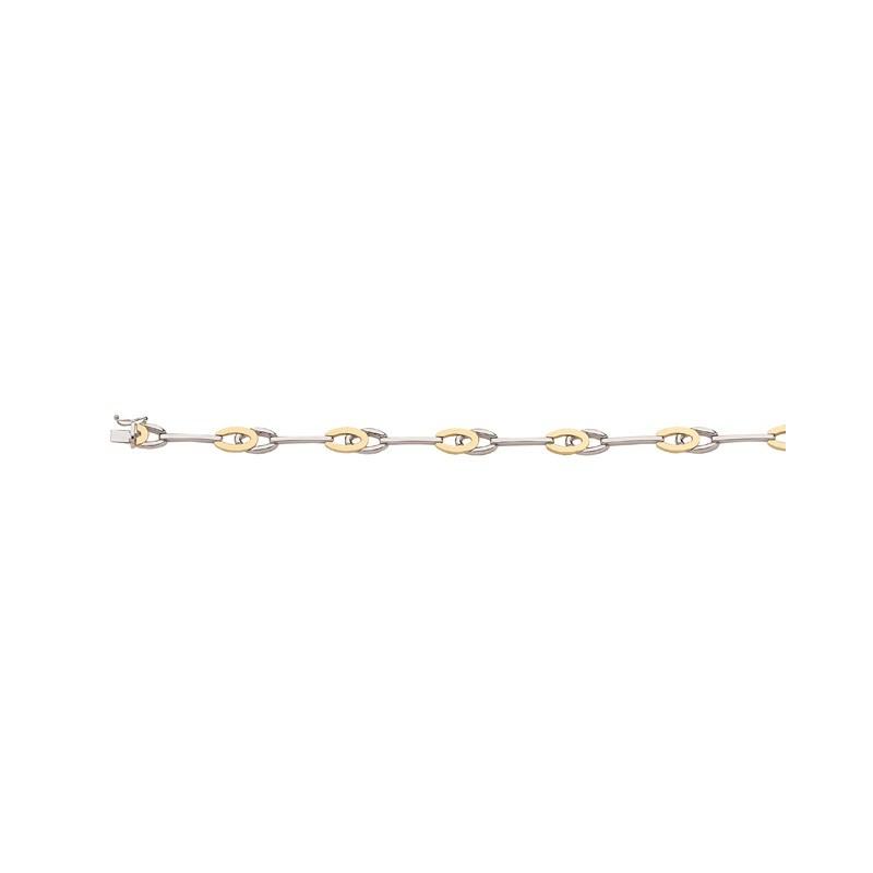 Bracelet maille Raquette Double 7,5mm Or jaune et Or blanc