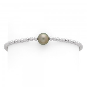 Bracelet Perle de culture de Tahiti 8-9mm boules 3mm Or blanc