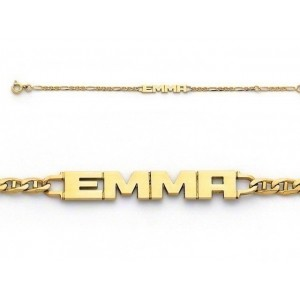 Bracelet identité bébé prénom découpé EMMA maille marine alternée 1/3 Or jaune