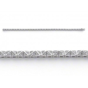 Bracelet joaillerie Diamants 0,61 Carat G VS Or blanc serti biais