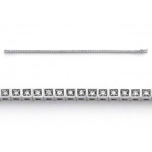 Bracelet joaillerie Diamants 0,90 Carat G VS Or blanc serti carré
