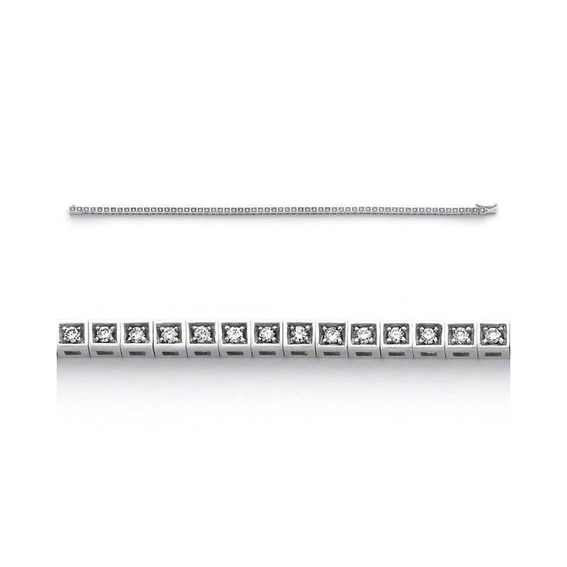 Bracelet joaillerie Diamants 0,90 Carat G VS Or blanc serti carré