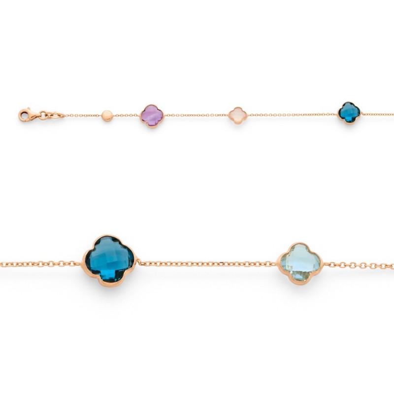 Bracelet Topazes bleues,bleues London,Améthystes,Quartz rose, Or rose