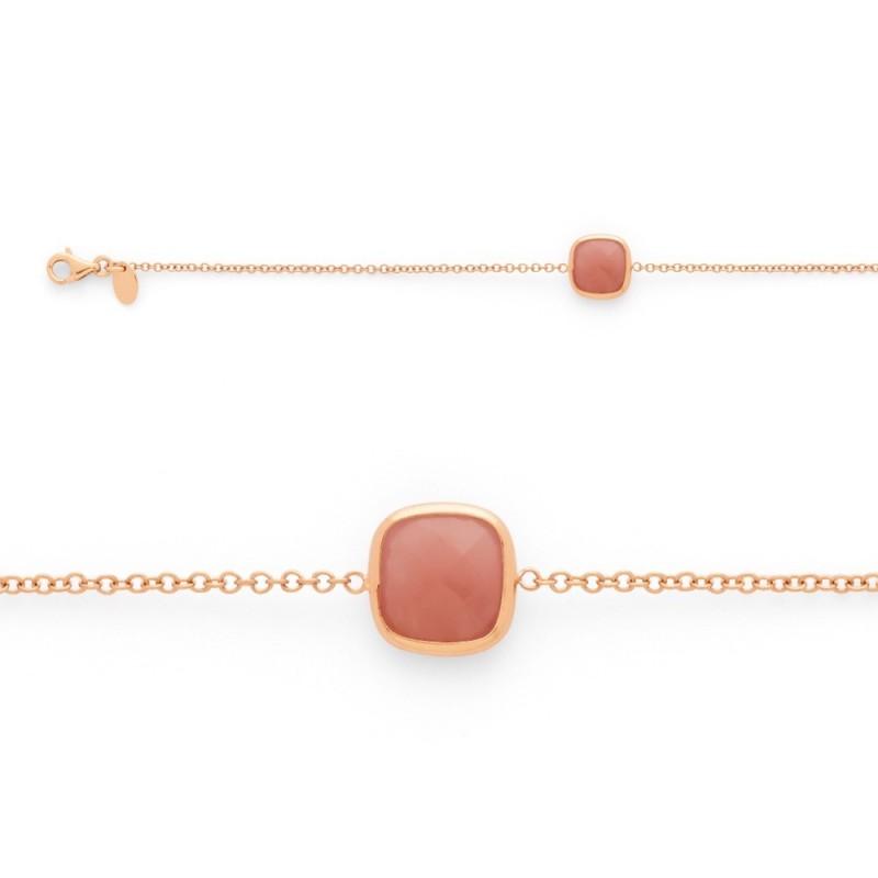Bracelet joaillerie Calcedoine rose or rose