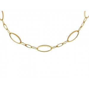 Collier mailles Ovales Longs Alternées Or jaune