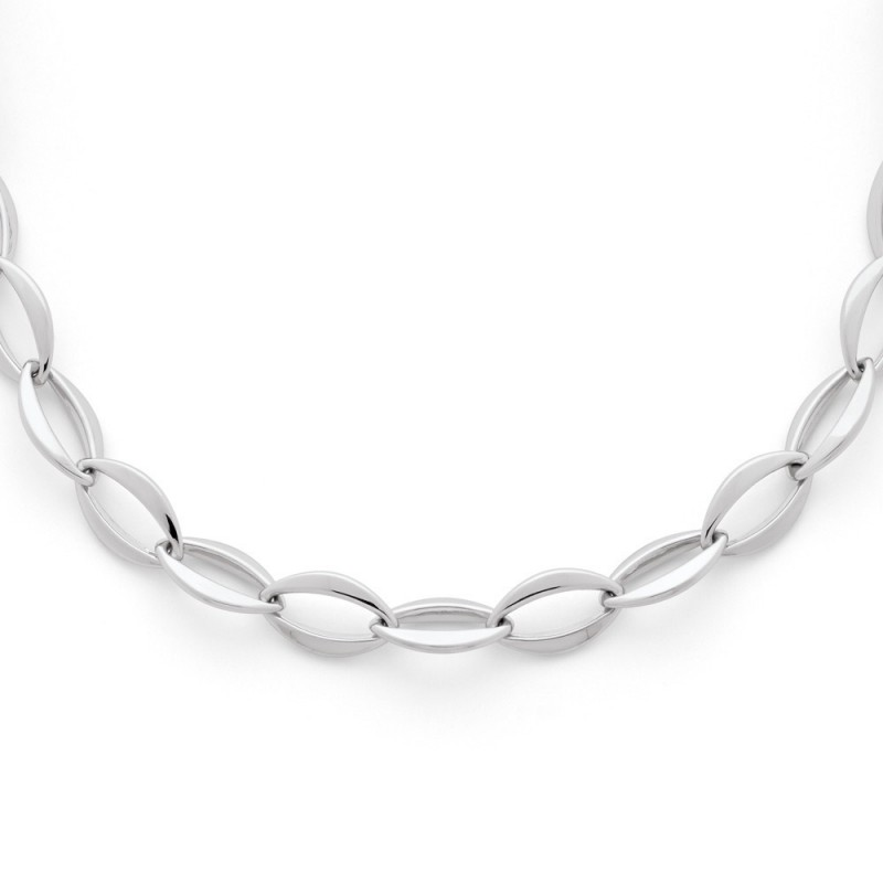 Collier mailles Ovales Larges 10,5mm 45cm Or blanc