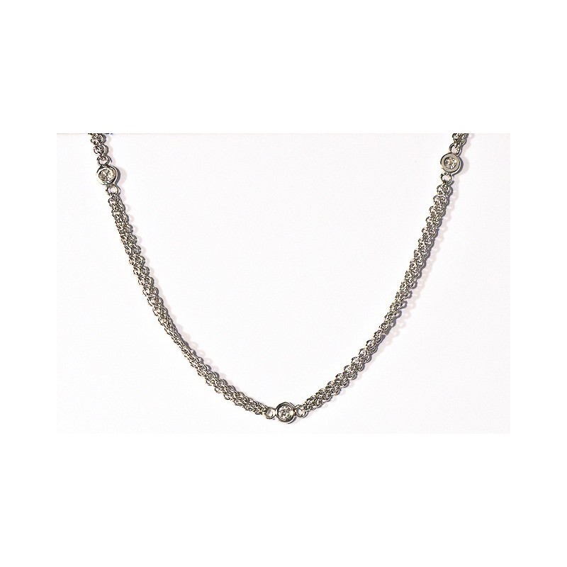 Collier Diamant 0,32 Carat H SI 8 sertissures Or blanc