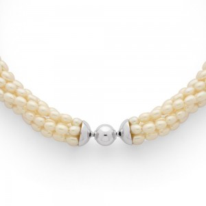 Collier Perles d'eau douce 7 rangs Or blanc