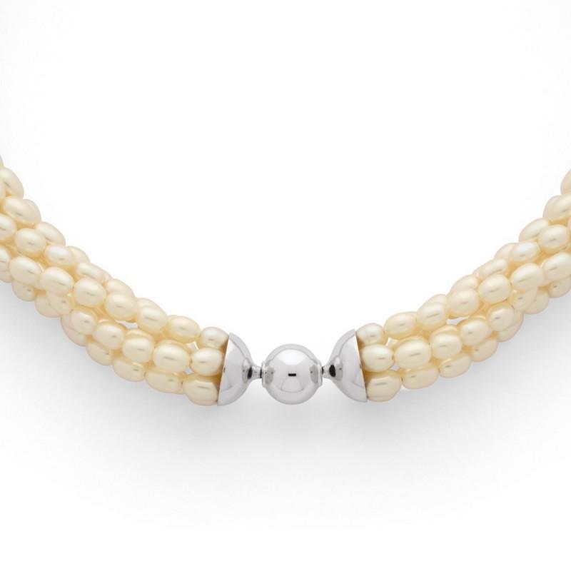 Collier Perles d'eau douce 7 rangs Or blanc