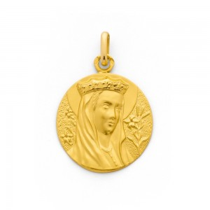 Médaille Vierge couronnée 20mm Or jaune