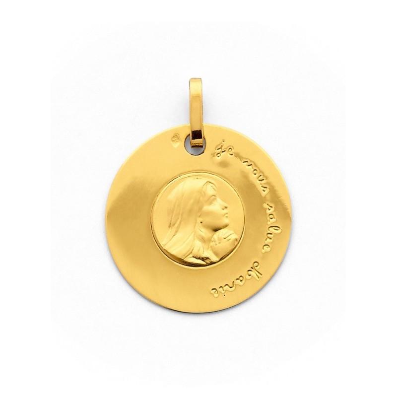 Médaille Vierge Je vous salue Marie 18mm Or jaune