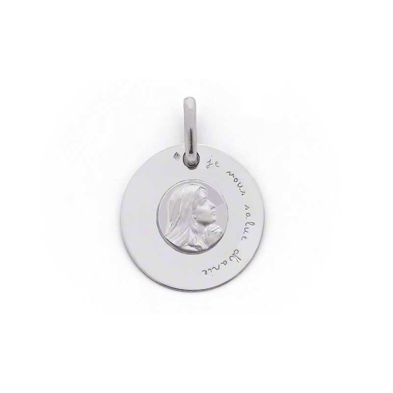 Médaille Vierge Je vous salue Marie 18mm Or blanc