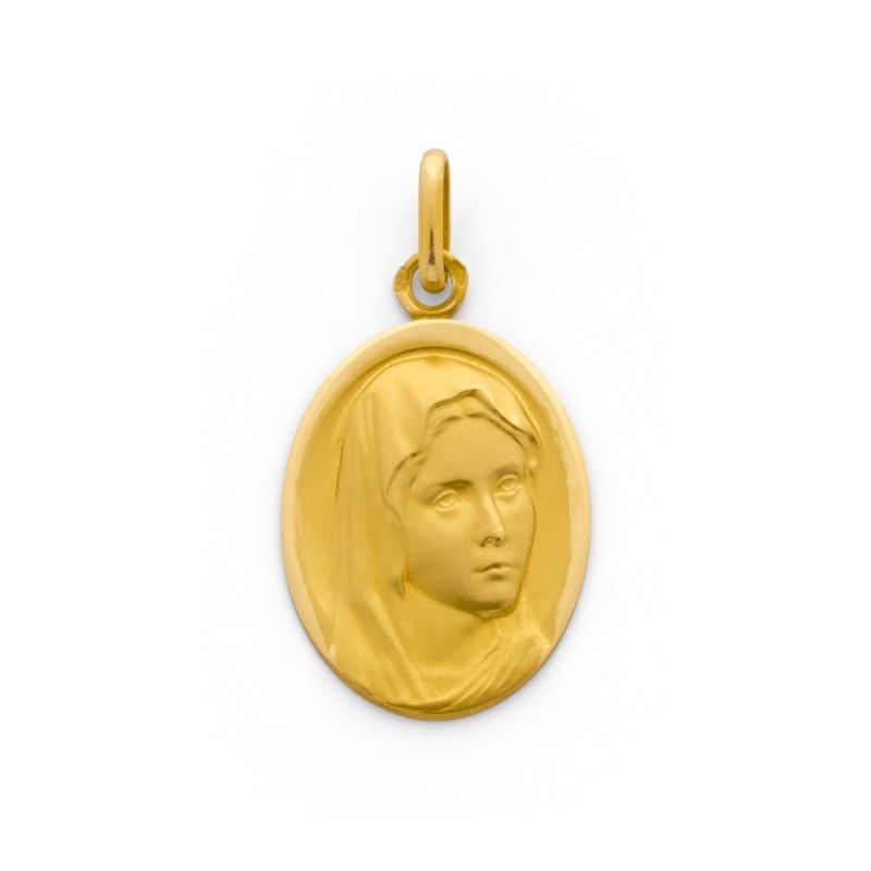 Médaille Vierge ovale 22mm Or jaune
