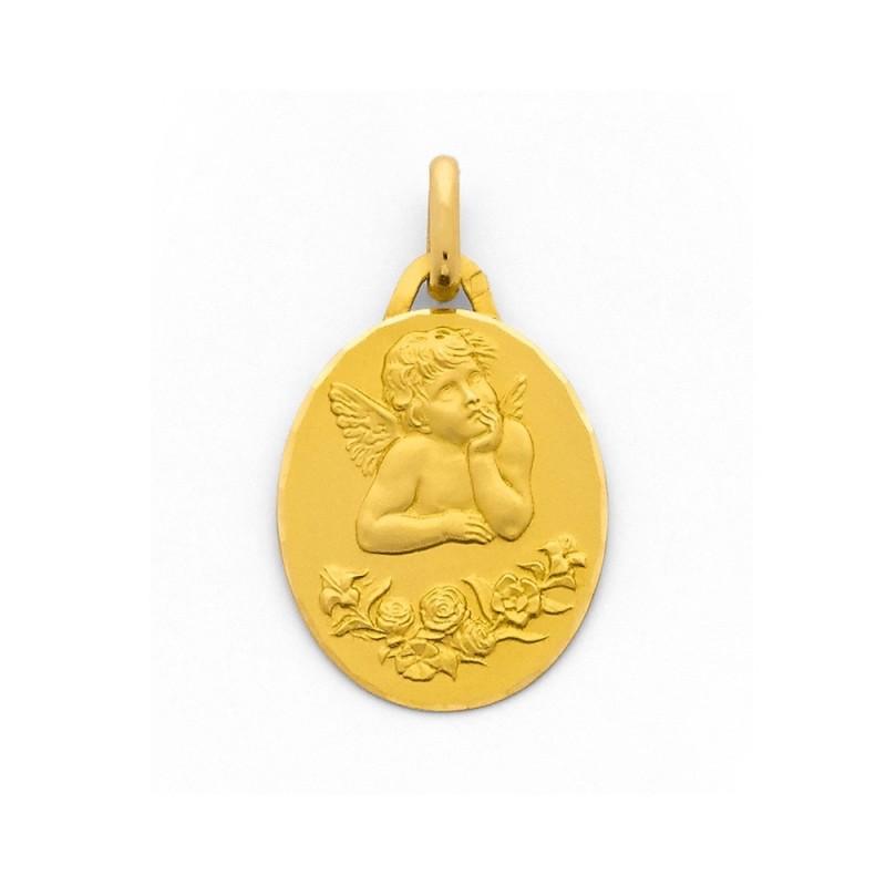 Médaille Becker Ange de Raphaël 17mm Or jaune