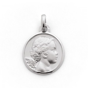 Médaille Ange 18mm Or blanc