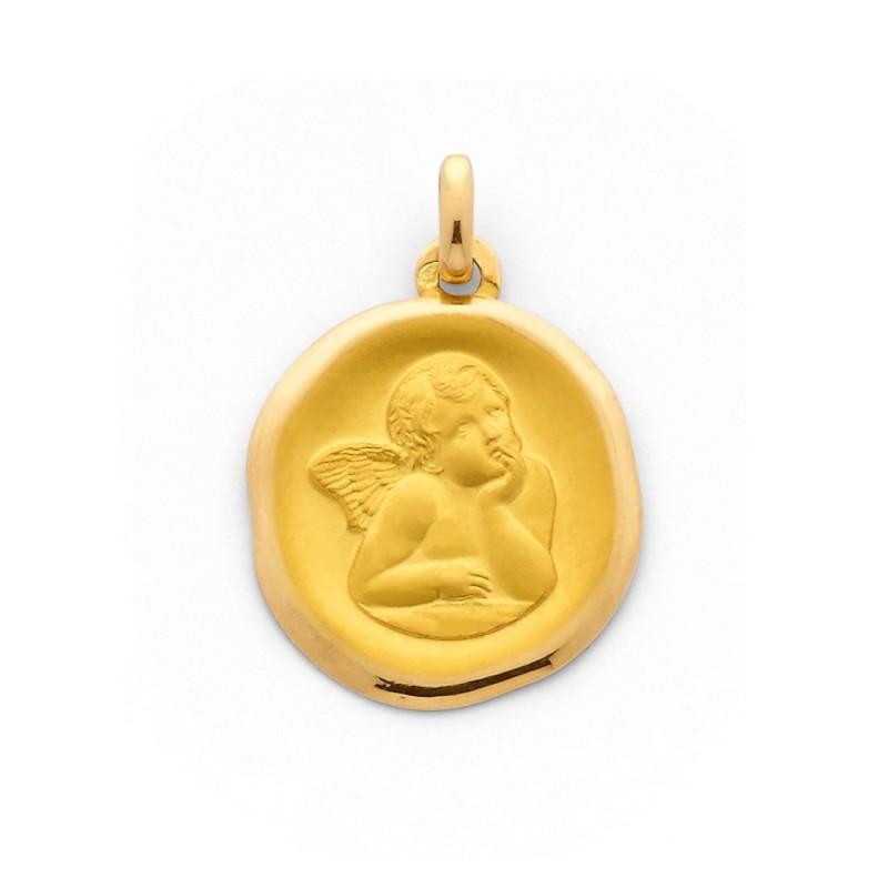 Médaille Ange de Raphaël 18mm en cachet Or jaune