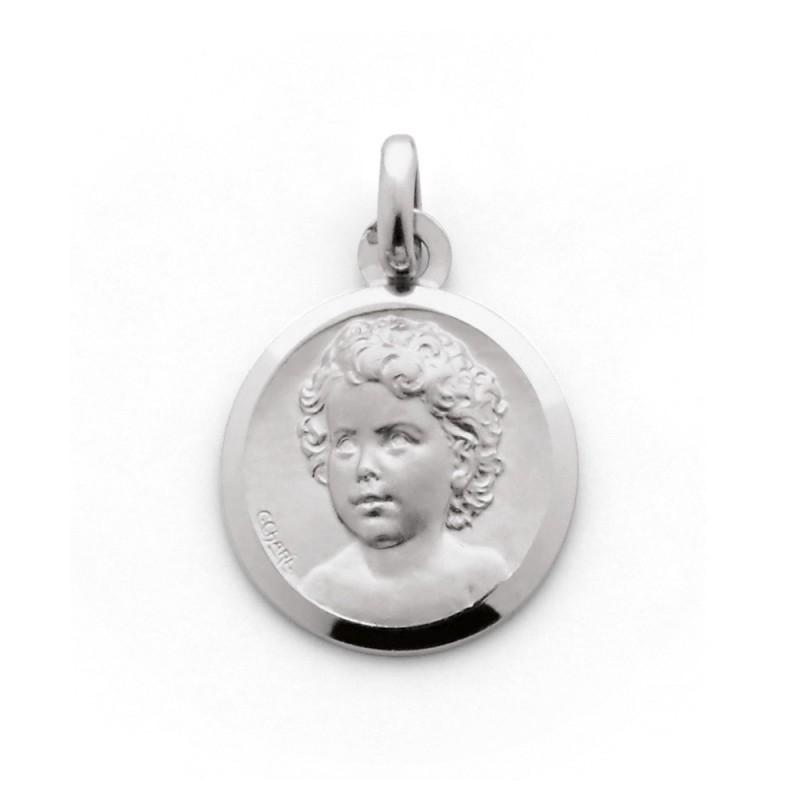 Médaille Chérubin 15mm Or blanc